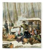 American Forest Scene Maple Sugaring Fleece Blanket