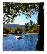 American River Through The Trees Fleece Blanket