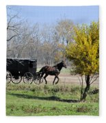 Amish Buggy Late Fall Fleece Blanket