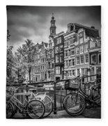 Amsterdam Flower Canal Black And White Fleece Blanket