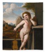 An Angel Holding A Guitar Fleece Blanket