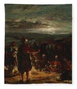 An Arab Camp At Night Fleece Blanket