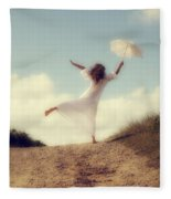 Angel With Parasol Fleece Blanket