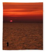 Angler In Summer Sunset Fleece Blanket