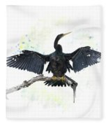 Anhinga Bird Fleece Blanket