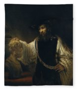 Aristotle With A Bust Of Homer Fleece Blanket