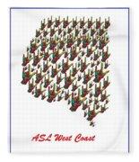 Asl West Coast Map Fleece Blanket