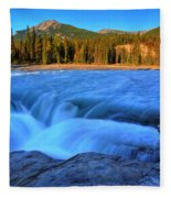 Athabasca Falls In Jasper National Park Fleece Blanket