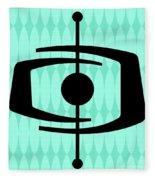 Atomic Shape 1 On Aqua Fleece Blanket