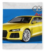 Audi Sport Quattro Concept With 3 D Badge  Fleece Blanket