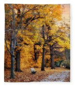 Autumn By The River Fleece Blanket