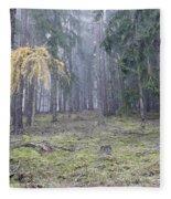 Autumn Coniferous Forest In The Morning Mist Fleece Blanket