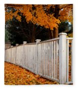 Autumn Fence Fleece Blanket