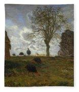 Autumn Landscape With A Flock Of Turkeys Fleece Blanket