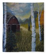 Autumn Red Barn  Fleece Blanket