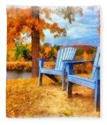 Autumn Splendor Watercolor Fleece Blanket
