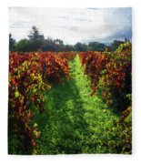 Autumn Vineyard In The Morning  Fleece Blanket