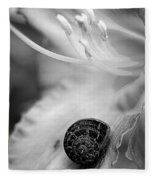 B And White Floral With Snail Fleece Blanket