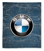 B M W 3 D Badge Over B M W I8 Blueprint  Fleece Blanket