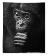 Baby Bonobo Portrait Fleece Blanket