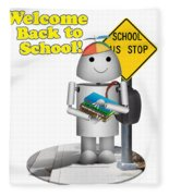 Back To School Little Robox9 Fleece Blanket