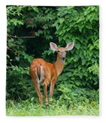 Backyard Deer Fleece Blanket