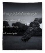 Bald Eagle In Flight With Bible Verse Fleece Blanket