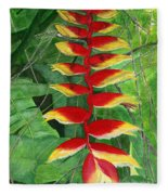 Balinese Heliconia Rostrata Fleece Blanket