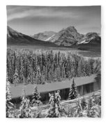 Banff Bow River Black And White Fleece Blanket
