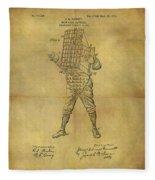 Baseball Catcher's Mask Patent Fleece Blanket