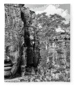 Bayon Faces  Fleece Blanket