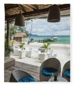 Beach Bar In Sok San Area Of Koh Rong Island Cambodia Fleece Blanket