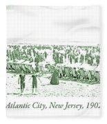 Beach, Bathers, Ocean, Atlantic City, New Jersey, 1902 Fleece Blanket