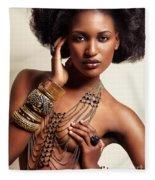 Beautiful African American Woman Wearing Jewelry Fleece Blanket
