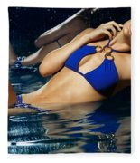 Beautiful Young Woman In Blue Bikini Fleece Blanket