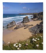 Bedruthan Steps Beach And Atlantic Surf In Summer Sun Cornwall  Fleece Blanket