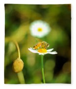 Bee On A Flower Fleece Blanket