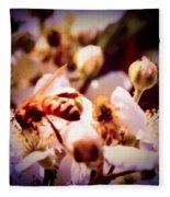 Bee On Apple Blossoms Fleece Blanket