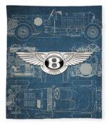Bentley - 3 D Badge Over 1930 Bentley 4.5 Liter Blower Vintage Blueprint Fleece Blanket