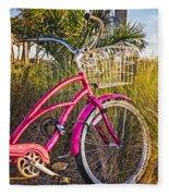 Bicycle At The Beach II Fleece Blanket