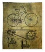 Bicycle Patent From 1890 Fleece Blanket