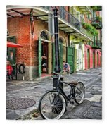 Bike And Lamppost In Pirate's Alley Fleece Blanket