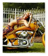 Bikes And Babes Fleece Blanket