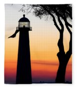 Biloxi Lighthouse At Dusk Fleece Blanket