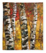 Birch Trees In Golden Fall Fleece Blanket