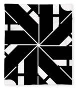 Black And White Geometric Fleece Blanket