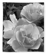 Black And White Roses 2 Fleece Blanket