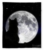 Black Cat And Full Moon Fleece Blanket