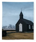 Black Church Of Budir, Iceland Fleece Blanket