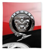 Black Jaguar - Hood Ornaments And 3 D Badge On Red Fleece Blanket